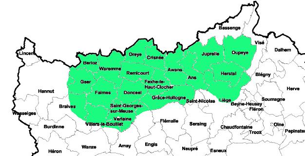 Communes couvertes : Ans, Awans, Berloz, Braives, Crisnée, Donceel, Fexhe-le-haut-Clocher, Faimes, Geer, Grace-Hollogne, Hannut, Herstal, Juprelle, Liège, Oreye, Oupeye, Remicourt, Saint-Georges-sur-Meuse, Verlaine, Villers-le-Bouillet, Waremme